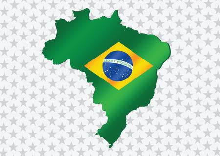 brasilia: Brazil map and flag theme idea design Illustration