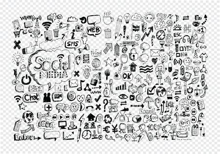 Hand doodle Business icon set idea design on transparent background