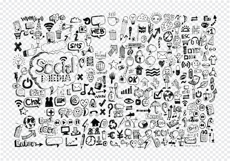 pen: Hand doodle Business icon set idea design on transparent background