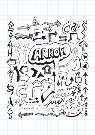 sideways: Hand drawn sketch arrow collection for your design Illustration
