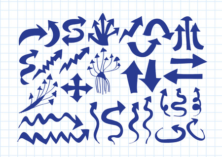 sideways: Hand drawn sketch arrow collection for your design