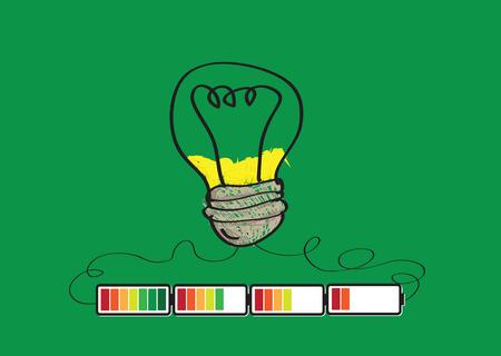 장 전기: Light bulb Charging Battery Power Idea design  일러스트