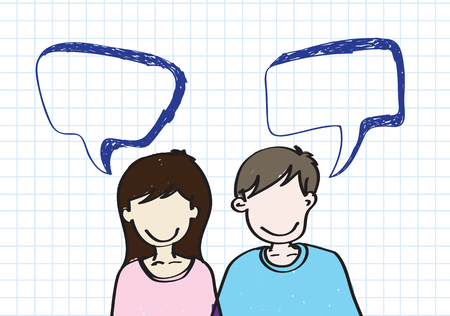 people icons with dialog speech bubbles  Vector