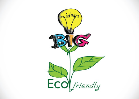 welfare plant: Eco friendly light bulb plant growing green eco energy concept  Illustration