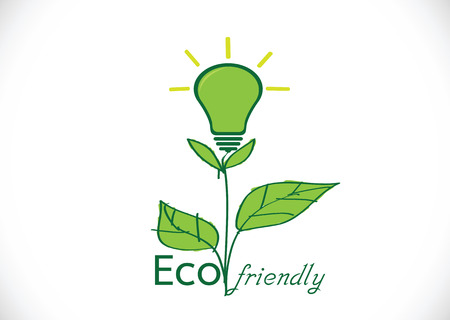 eco energy: Eco friendly light bulb plant growing green eco energy concept