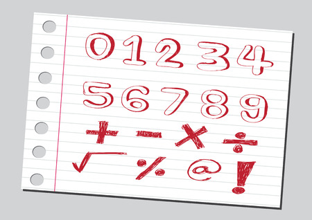 sketch numbers and mathematics symbols Illustration