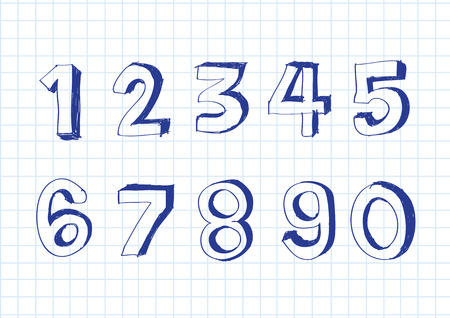 arithmetical: sketch numbers and mathematics symbols Illustration