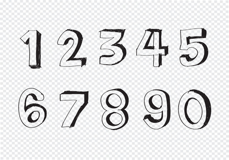 sketch numbers and mathematics symbols Vector