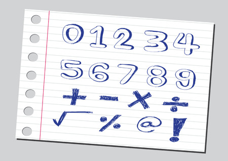 arithmetical: sketch numbers and mathematics symbols