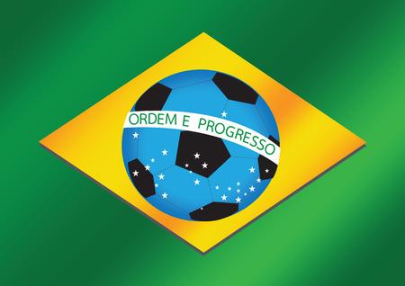 Brazilië Kaart en de bal van het Voetbal 2014 Stock Illustratie