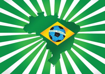 Brazilië Kaart en de bal van het voetbal 2014