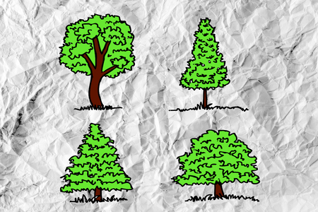 Set of trees with leaves on crumpled paper photo