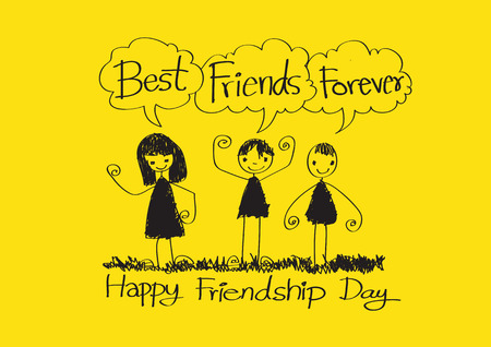 friendship day: Happy Friendship Day and Best Friends Forever idea design