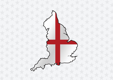 british isles: map of  England flag  Decorative idea design Illustration