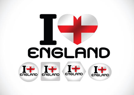 England Flag with heart Vector
