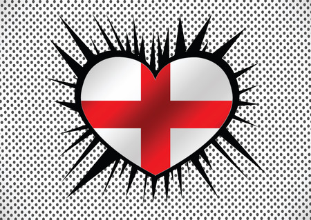 England Flag with heart Vector