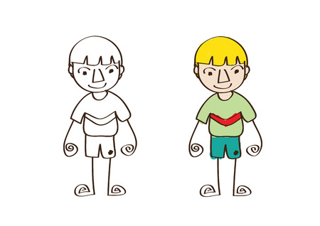 boy kid: Cartoon boy kid in Jaidee Family Style