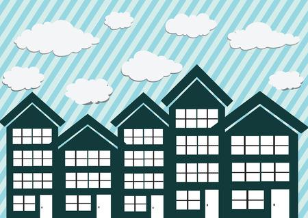 townhouses: Peque�os Adosados ??Town y dise�o para el hogar Vectores