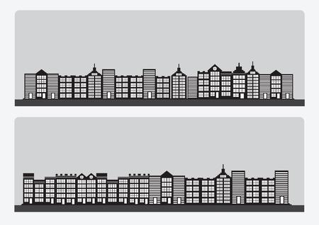 midtown: Town cities silhouette icon set