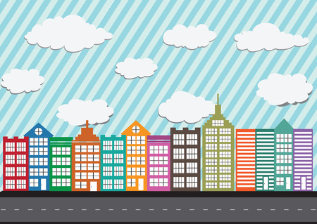 Little Town Townhouses and home design Vector