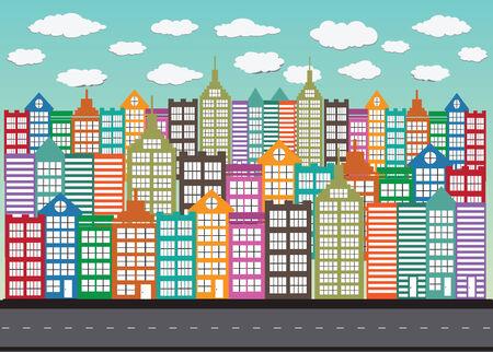 townhouses: Dise�o colorido edificio ciudad Cityscape Ciudad Vectores