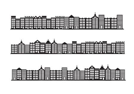 midtown: black cities silhouette icon set Illustration