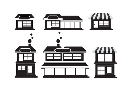 bakery store: house and shop store icons