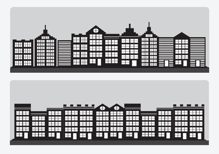 Town cities silhouette icon set Vector