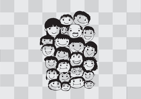 Face people sketch Crowd of funny peoples Vector