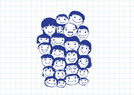 mixed family: Face people sketch Crowd of funny peoples