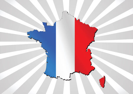 french flag: Map and  flag of France , French Republic