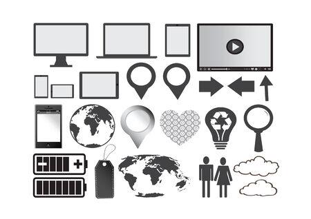 Set of concepts illustration trendy design for seo optimization , website  , mobile phone application , business, social network, e-commerce Stock Vector - 28095173