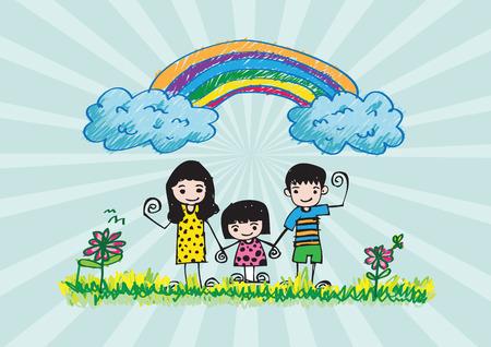 family picture: ni�os de dibujo imagen feliz de la familia