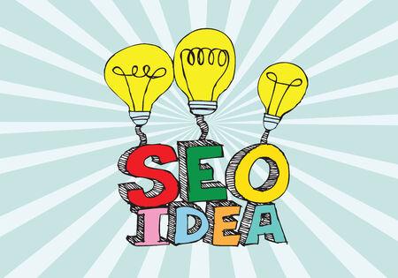 Bulb SEO Idea Search Engine Optimization concept design Stock Vector - 28262703
