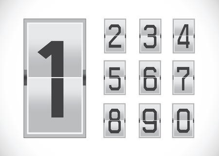 reversible: Numbers clock flip Scoreboard Illustration
