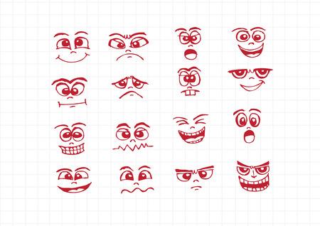 Cartoon faces Set hand drawing illustration