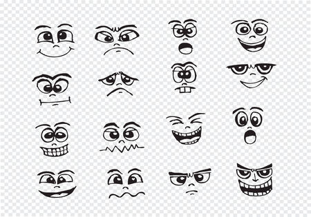 smirk: Cartoon faces Set hand drawing illustration