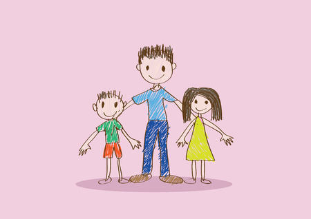 mixed family: Happy mothers day card with family cartoons in  illustration