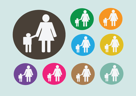 lay down: Pictograms mother and child Icon Sign Symbol Pictogram Illustration