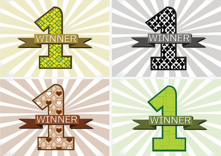 the Winner and Number One First Place sign simbol with ribbons Vector