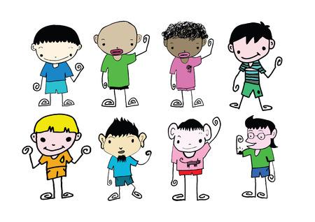 Set of cute man and young boys cartoon  Vector