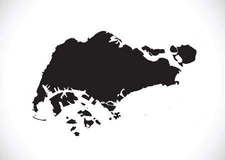 Singapore map  イラスト・ベクター素材