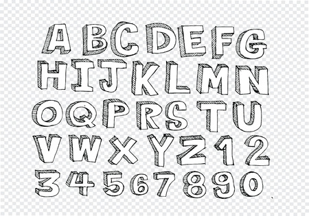 Hand drawn letters font written with a pen Vector