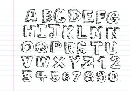 martinet: lettres dessin�es � la main de la police �crites avec un stylo Illustration