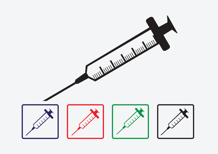 syringe inoculation: syringe icons set Illustration