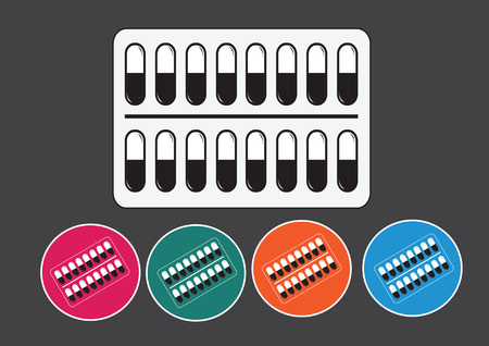 Pills and capsules icon set Vector