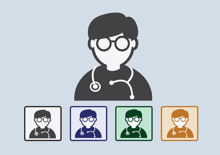 cardiologist: Doctor with stethoscope web icon