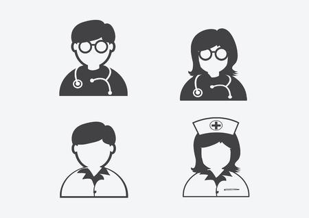 Doctor Nurse   Patient Sick Icon Sign Symbol Pictogram Vector