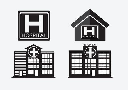 botiquin de primeros auxilios: Edificio del hospital icono de diseño en la ilustración