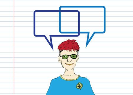 personas pensando: La gente que piensa y los pueblos que hablan con la burbuja del discurso Vectores